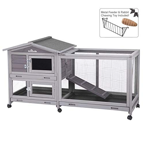 "Aivituvin 62"" Rabbit Hutch Indoor and Outdoor Bunny Cage on Wheels with 3"