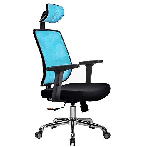 MXSXO Silla de Escritorio Silla Ergonómica, Silla de Oficina Apoyabrazos Ajustables Cómodo reclinado Reposacabezas Ajustable Dormitorio de Estudio Peso del rodamiento 150kg (Color : Blue-Black)