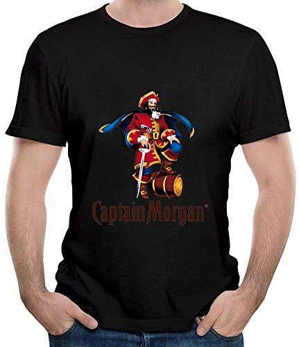 Captain Morgan Logo Mens Casual Short Sleeve T-Shirt Print Fashion Tee Black,Black,Small