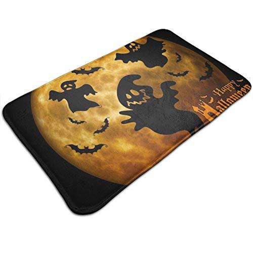 GOSMAO Felpudo de Entrada Alfombra Exterior para Puerta Impermeable Lavable Antideslizante Fantasmas y murciélagos de Halloween 40X60cm