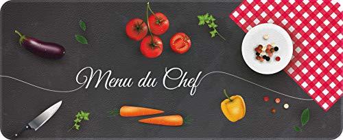 """ID MAT Decor de Cuisine """"Chef"""" Decor de Cuisine, Fibres Synthétiques, Noir Rouge Jaune Vert, 50x120x0, 4 cm"""
