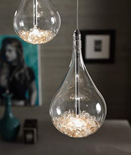 Stones Perle 1 Sfera Lampada a Sospensione 35 W, Trasparente/Cromo, 12x12x136 cm