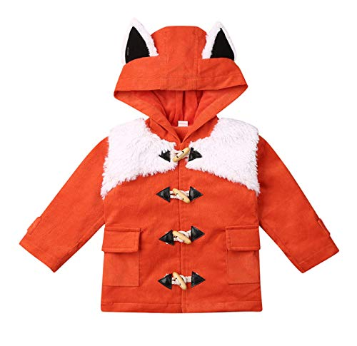 Baby Girls Fox Hoodie Pullover Coat Plush Coat with Cute Ear&Tail Winter Long Sleeve Jacket with Pocket (Orange, 1-2 Years)