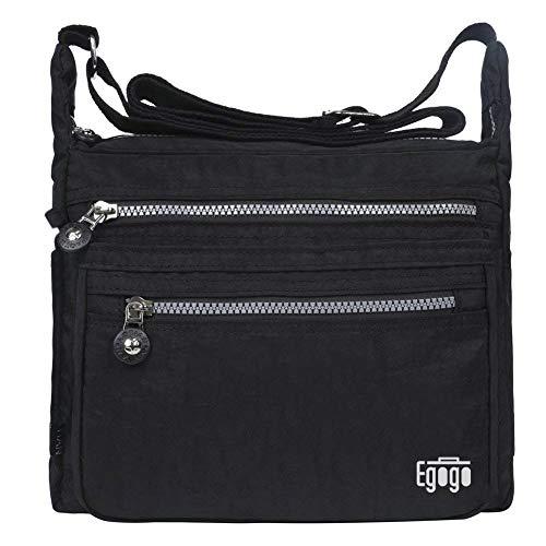 EGOGO Cross Bag Messenger Umhängetasche mit Reißverschlusstaschen (Schwarz)