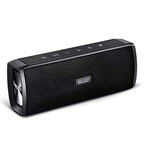 SCIJOY IPX6 Wireless Bluetooth Lautsprecher Wasserdicht, 16W Tragbarer BT4.2 Lautsprecher, Bass Stereo mit 12 Std.-Spielzeit, Freisprechfunktion für Handy, TWS für Outdoor/Dusche/Party