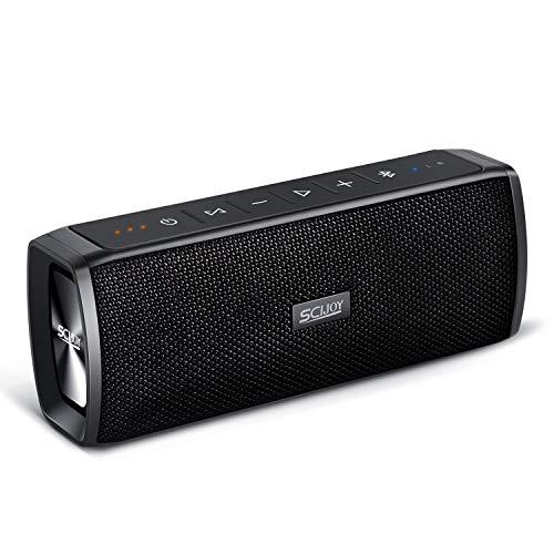 SCIJOY IPX6 Wireless Bluetooth Lautsprecher Wasserdicht, 16W Tragbarer BT4.2 Lautsprecher, Bass Stereo mit 12 Std.-Spielzeit, Freisprechfunktion für Handy, TWS für Outdoor/Dusche/Party