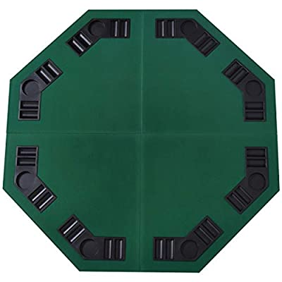 HomCom 48'' Octagon Blackjack Poker Game Table Top Folding 8 Player Fit Various Desktop