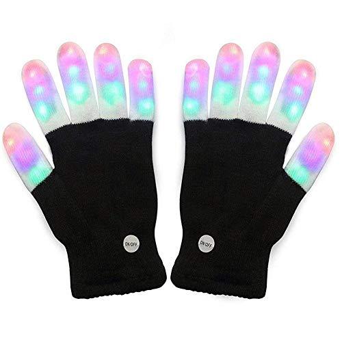LED-Handschuhe mit Schlangenkatze und LED-Licht, leuchtende Handschuhe, bunt, 7 Modi, leuchtet für Festivals