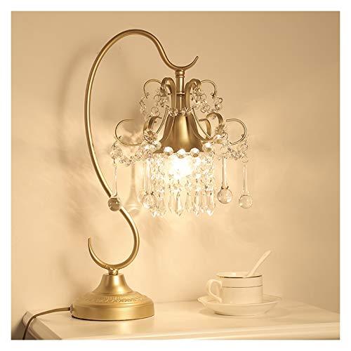 Lámpara de escritorio para sala de oficina De lujo cristalino transparente lámpara de mesa de la sala dormitorio Estudio de noche contador de la lámpara de cobre chapado en Base, Oro, H 18.5' Lámpara