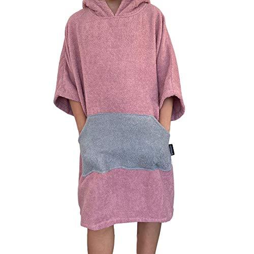 Homelevel Poncho de surf para hombre y mujer, 100% algodón, de playa, de baño, toalla de mano, capa, toalla de baño con capucha, color Altrose/gris claro, tamaño large/extra-large