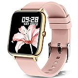 KALINCO Reloj Inteligente Hombre Mujer, NotificaciónWhatsapp, Smartwatch Sueño Presión Arterial Oxígeno Sanguíneo Frecuencia Cardíaca , Reloj Digital Deportivo para Android iOS(Rosa Oro)