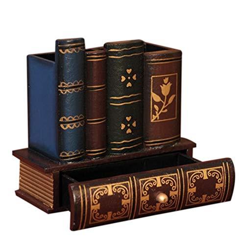 Papelería multifunción retro soporte de madera con forma de libro, para decoración del hogar, lápices, escritorio, caja de almacenamiento, cajones de papelería, dispensadores (color: como se muestra)