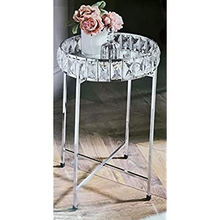 E2B New Unique KB Inspired Stylish Durable Coffee Table Silver Mirror Tray Top Table Side Add Some Style To Your Living Room