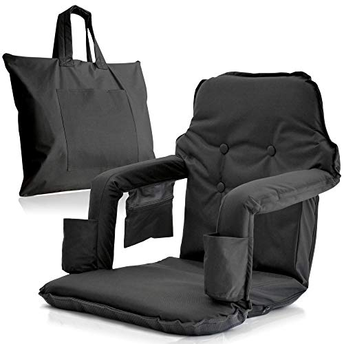 Foldable Reclining Stadium Seat for Bleachers with Folding Legs – New 2020 Patent Pending Premium Model + Free Carry– High Backrest + Thick Padded Back & Armrest+ Water Resistant(Black, X-Large)