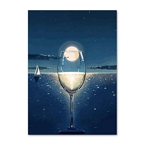 5D DIY Diamante Pintura de vino Copa de vino Punto de cruz Mosaico Mosaico Hecho A Mano Cuadrado Plaza Round Round Room Decoración de Pared Regalo Artesanal 30X40CM