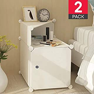 White Nightstand Set of 2 White Bedside Table Night Stand end Tables Side Tables Bed Side Pair Two nightstands for bedrooms with Storage Organizer Cabinet Pack