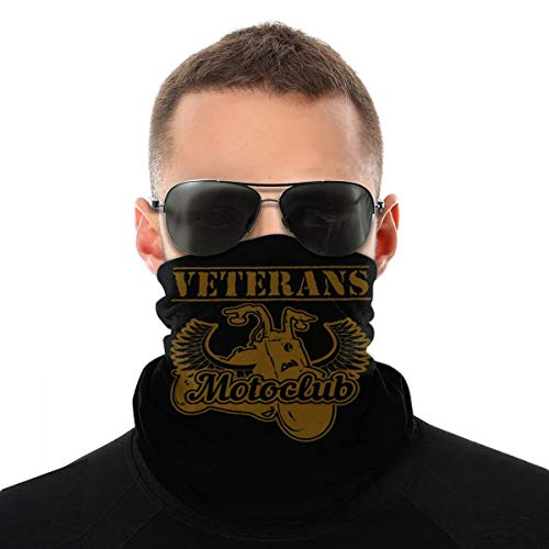 Veteran Motorcycle Rider Club Military Biker Unisex Neck Gaiter Face Mask Warmer Mouth Cover Windproof Sports Bandanas White