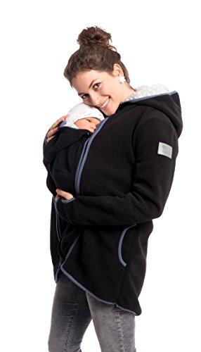 Viva la Mama 3in1 Tragejacke für Mama und Baby I Umstandsjacke Kängurujacke Allwetterjacke Damen Umstandsmode Fleece Kapuzenjacke mit Tragefunktion Janko schwarz - M
