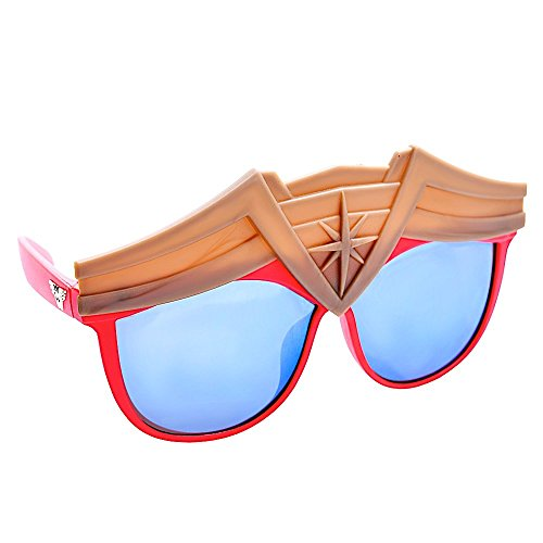 Sun-Staches Costume Sunglasses Wonder Woman Super Hero Party Favors UV400, Gold, Red