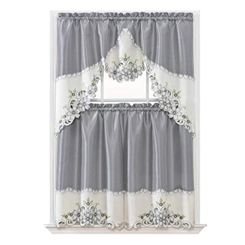 GOHD Golden Ocean Home Decor Arch Floral Kitchen Cafe Curtain Set. Window Treatment Set for Small Windows. Nice Matching Color Floral Embroidery on Border with cutworks (Silver Grey)