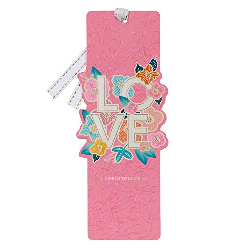 Premium Scripture Bookmark'Love' 1 Corinthians 13 Bible Verse Pink Tropical Flower Inspirational Bookmark for Women w/Ribbon