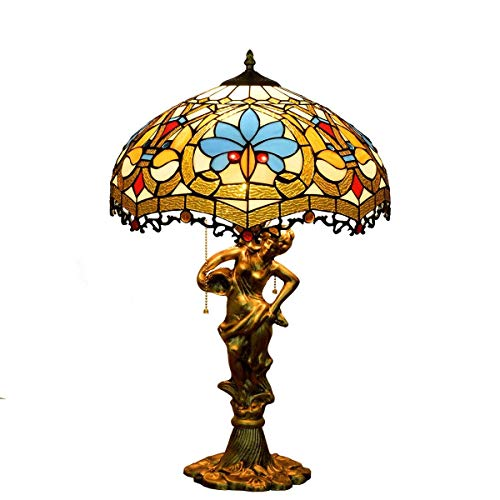 DJY-JY Tiffany lámpara de mesa 16 pulgadas europeo retro amor perlas color vidrio sala comedor dormitorio lámpara de mesa aluminio belleza base interior estilo Tiffany