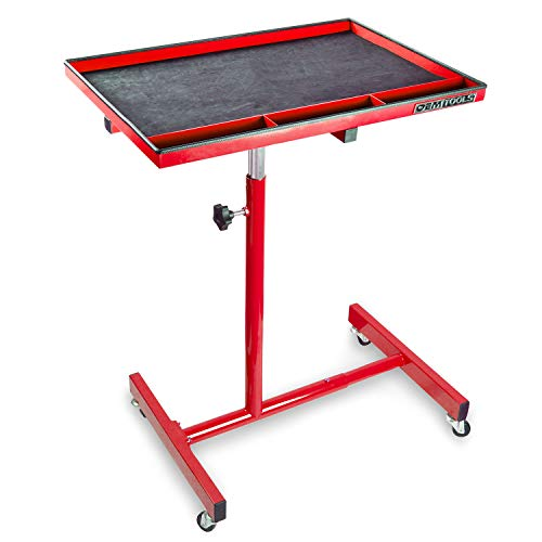 OEM TOOLS 24935 29 Inch Portable Tear Down Tray, Perfect Mobile Tray Table for Mechanics, 55-Pound Capacity, Steel Construction, Red