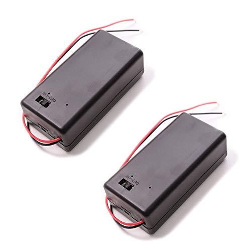 Portapilas 9V con Cable y Caja con Tapa e Interruptor (2 Unidades)
