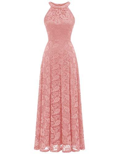 MuaDress 6012 Damen Abendkleider Lang Ballkleider Festliche Kleider für Hochzeit Maxi Spitzenkleid Blush XL