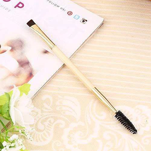 Poignée en bambou en fibre synthétique dorée Poignée en bambou fin Outils de maquillage Brosse à sourcils double Brosse à cils Naturel - Doré