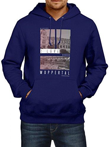 Shirt Happenz I Love Wuppertal Premium Hoody Liebe Deutschland Städtetrip Herren Kapuzenpullover, Farbe:Dunkelblau;Größe:L