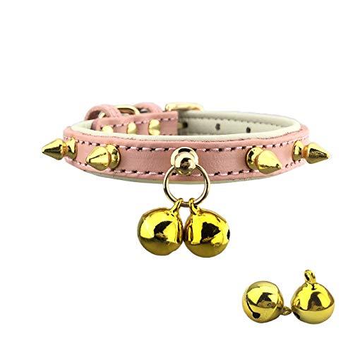 Newtensina Punk Klokken Leuke Hond Kraag met Studs Studded Puppy Kraag voor Kleine Honden Katten - Inclusief 2 stuks klokken vervanging, S, roze