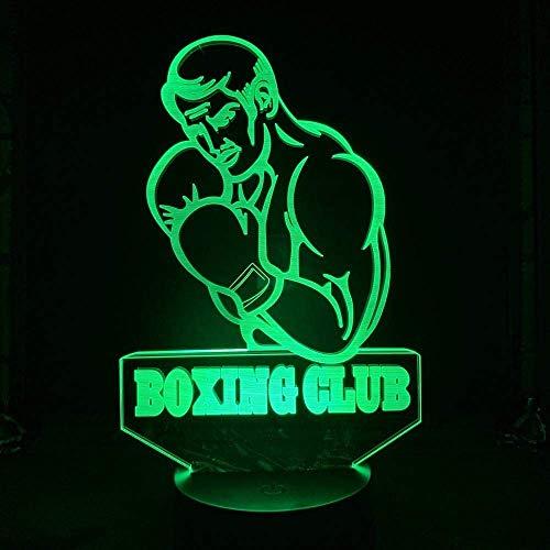 3D diapositiva luz LED noche deportes fresco boxeo club músculo hombre Pugilismo infighter cargador USB, batería alimentado 16 colores