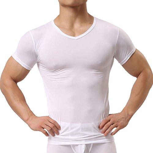 Homme Sexy Tshirt Translucide Haut à Manches courtes Réspirant Lingerie Sous-vêtements (L, Blanc)