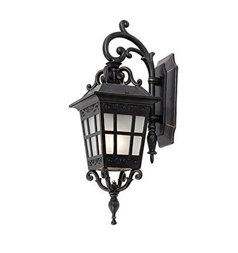 Buitenlamp, roest, waterdicht, ZS, wandlantaarn, vintage, 9 W, projector, wandlamp, buitenwandlamp, veiligheidslicht, bruin, zwart, edge goudkleuren, lampenkap van glas, E27