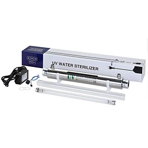 MaquiGra Stérilisateur UV Filtre d'aquarium UV en Acier Inoxydable Système de Traitement de l'eau Désinfection par ultraviolets pour l'eau Taux de stérilisation de 99,99% (25W)