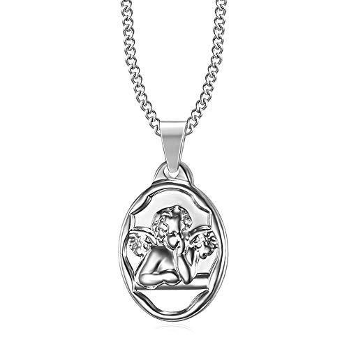 Bobijoo Jewelry hanger beschermengel Gabriel doop geboorte kinderen baby staal zilveren ketting