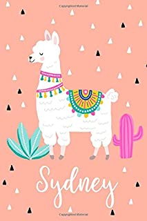 Sydney: Personalized with name - cute notebook for girls women with cute llama alpaca cactus 6x9 inch. blank lined journal