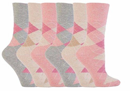 Gentle Grip 6 Paar Damen SockShop Cotton Socken Schuhgröße UK 4-8 EUR 37-42 neutral argyle RH37