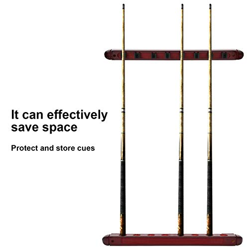 Keenso Pool Cue Rack, 8 Holes Wooden Wall Mounted Pool Cue Rack Snooker Billiards Pool Cues Rack Pool Cues Holder with Screws