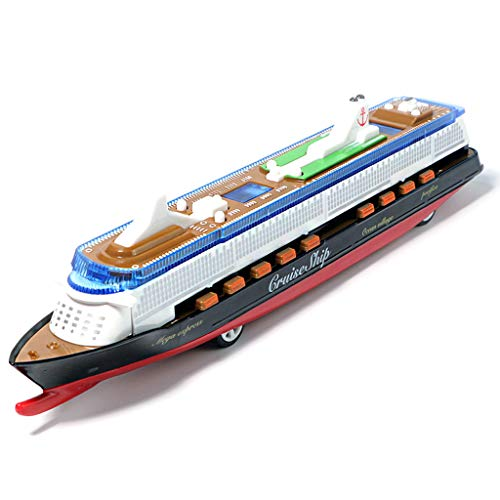 LTOOTA Miniatur Cruise Liner Schiff Herzstück Spielzeug, Musik Ocean Liner Blinkende LED Lichter Sound Electric Cruises Simulation Boot Spielzeug Druckguss Modell für Kinder,Schwarz