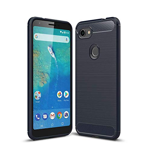 Lapinette Funda Compatible con Google Pixel 3A XL Fibra de Carbono - Carcasa Pixel 3A XL Protección Ligera y Flexible - Funda Carbono Pixel 3A XL Funda Premium Azul