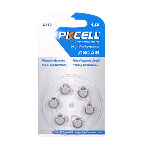 6 Pcs A312 P312 Size 312 1.4V Zinic Air Hearing Aid Battery