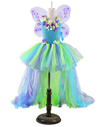 Tutu Dreams Kids Girls Fairy Costume Dress for Birthday Christmas Party Gift 1-8Y (Blue, L)
