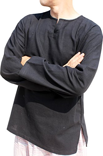 RaanPahMuang Open Collar Long Sleeve Farmers Shirt Plain Warm Cotton Plus Size, XXX-Large, Black