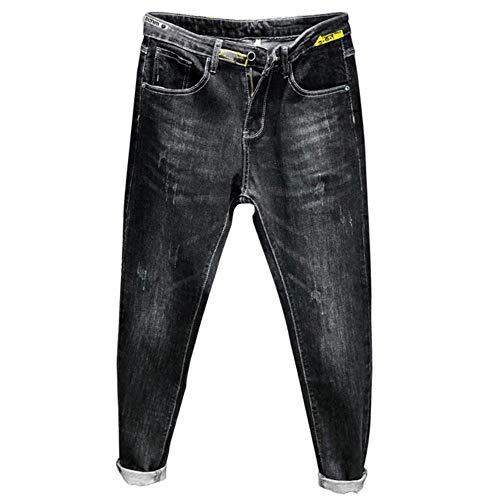 YANGPP Jeans Neri Uomo Skinny Elastico Autunno E Inverno Pantaloni di Jeans da Uomo Jeans da Uomo Jeans da Cowboy Stampati Jeans, Nero, 30