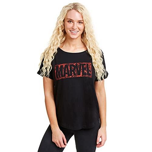 Marvel Comic Logo Camiseta, Negro (Black Blk), L para Mujer