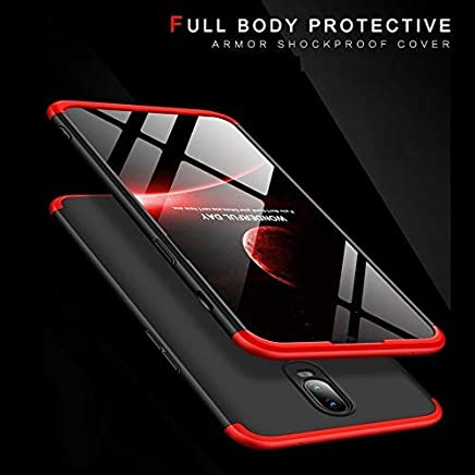 Valueactive Back Cover for OnePlus 7 Case Cover Ull Body 3 in 1 Slim Fit Complete 3D 360 Degree Protection Hybrid Hard Bumper Back Case Cover for OnePlus 7 (Black Red)
