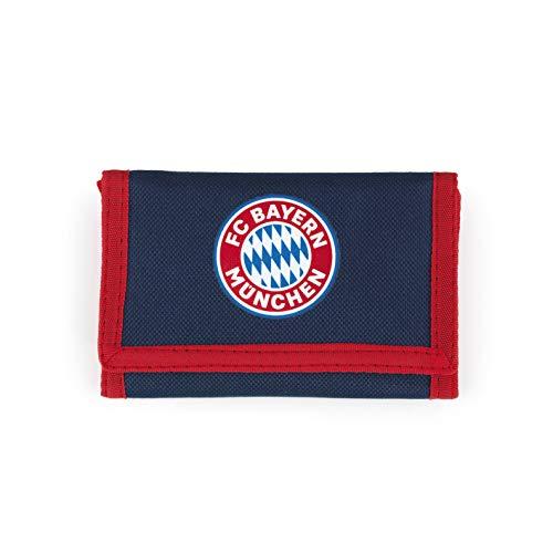 FC Bayern München Geldbörse mit FCB Logo | Fanartikel Wallet Fußball | Unisex Geldbeutel Bayern München mit Klettverschluss (rot/blau)