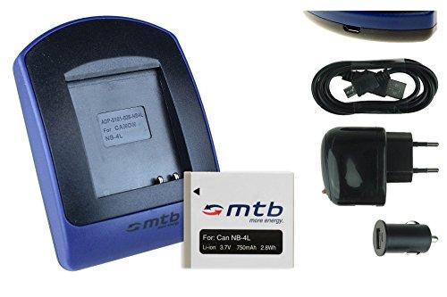 Akku + Ladegerät (Netz+Kfz+USB) NB-4L für Canon Ixus 115 HS, 255 HS./ Powershot SD30 SD40, SD1100, TX1 .s. Liste